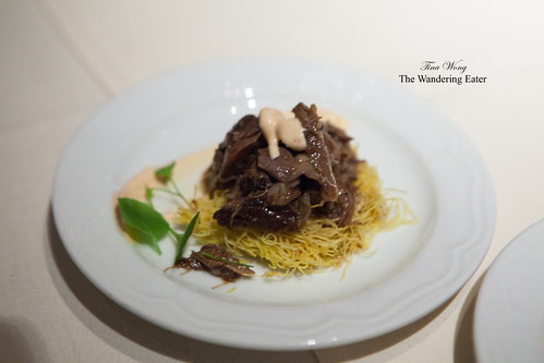Shredded lamb shank on lemon chili kadaif, preserved lemon paprika yogurt by Chef Einat Admony of Balaboosta & Taïm