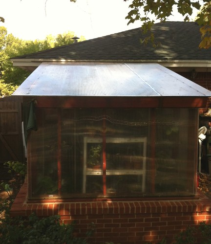Greenhouse roof re-installed