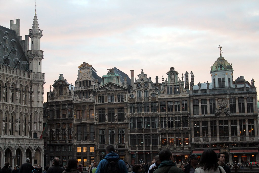 grand place, sun going down