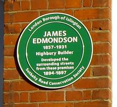 Photo of James Edmondson green plaque