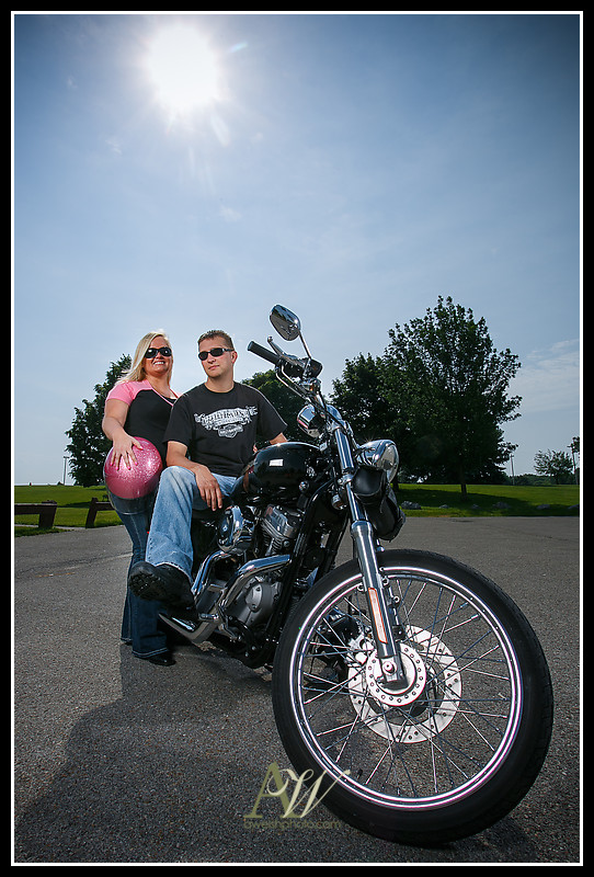 Rochester NY Engagement Wedding Photographer Andrew Welsh Unique Authentic Motorcycle Park Sonnenberg Harley Bike