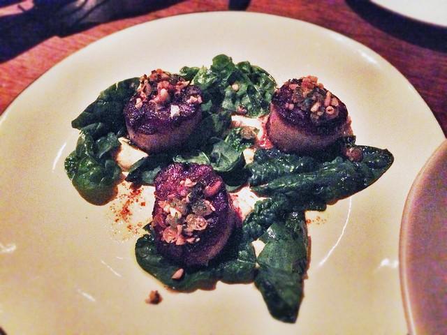 ... bloomdale' spinach, cauliflower with vandouvan, pine nut-raisin relish