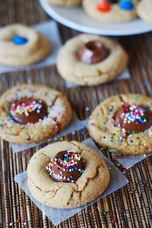Peanut butter cookies with chocolate caramel candy, Rolos