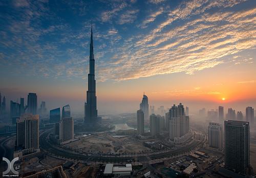 mist fog clouds digital sunrise bay nikon dubai uae business khalifa hdr burj d800 blending