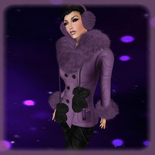 TOPAZIA- Evina Coat (partial mesh) purple + TOPAZIA - mufka and ears muffs (unisex) purple and black by Orelana resident