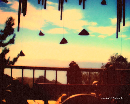 Buddhist Statues on Big Sur Balcony (Digital Pastel Drawing)