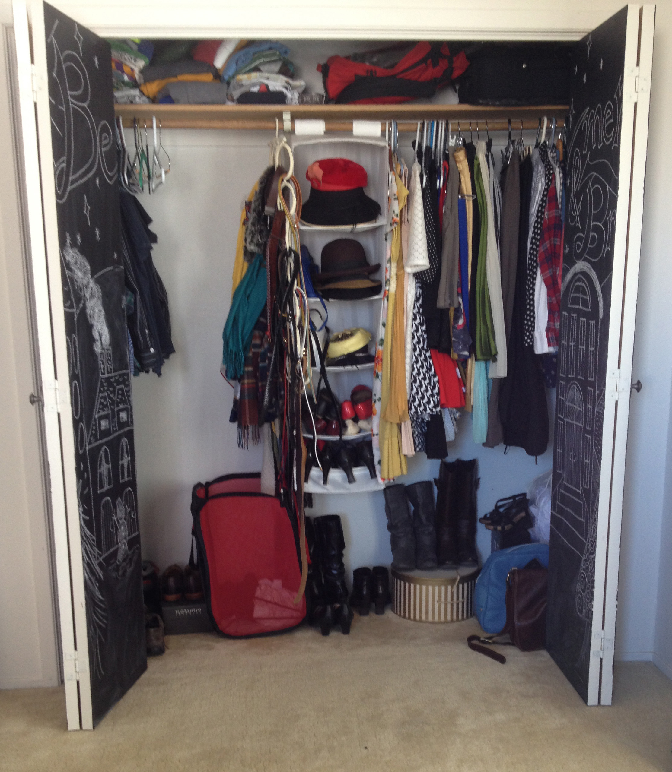 closet, wardrobe, organization, tour, clothing, hanging shelf, boots, shoes, bags, hangers,