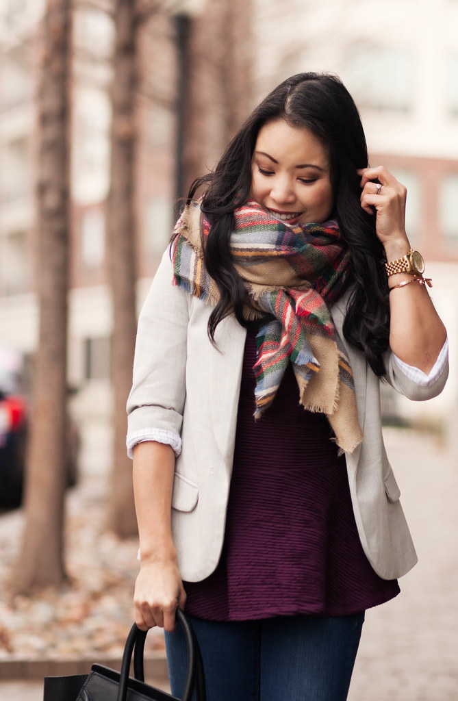 cute & little blog | peplum + blazer layering, zara tartan plaid blanket scarf