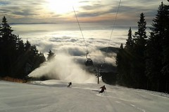 Černá hora - slunce a sněžná děla v provozu...
