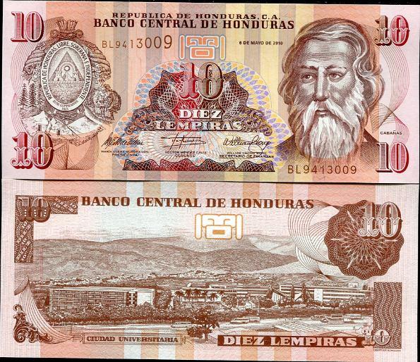 10 Lempiras Honduras 2010