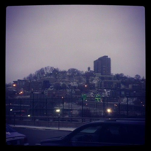 Mount Adams as seen from Sentinel Street on a chilly in downtown Cincinnati...