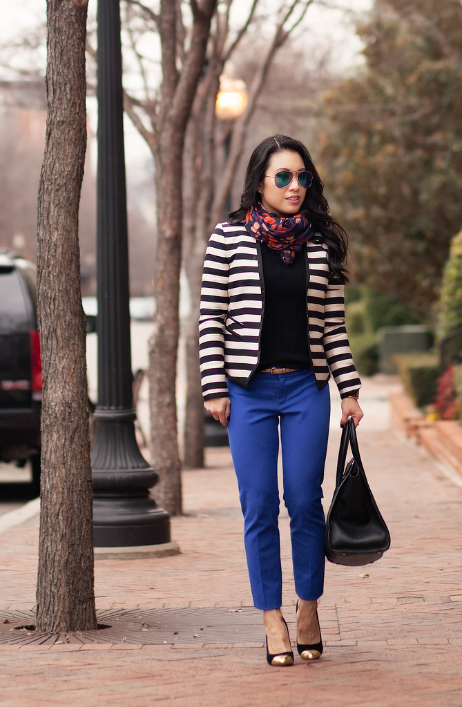 cute & little blog | striped blazer, banana republic cobalt ankle pants, navy leaves scarf | br sloan pants review