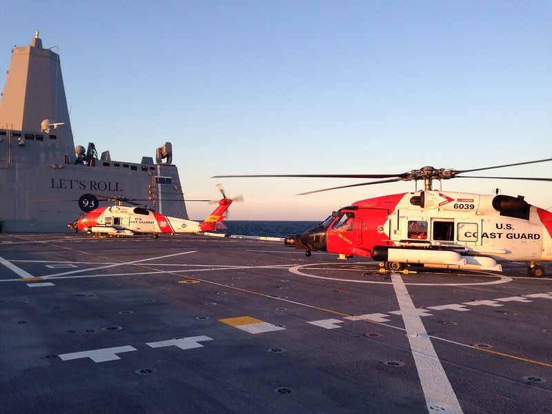 Coast Guard Helicopters Train Aboard Somerset