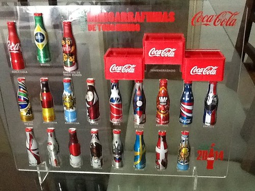 2014 Coca-Cola Small Aluminun Bottles Word Cup Promo Display by roitberg