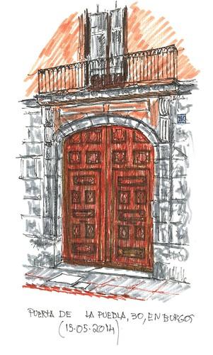 Puerta en la calle La Puebla en Burgos