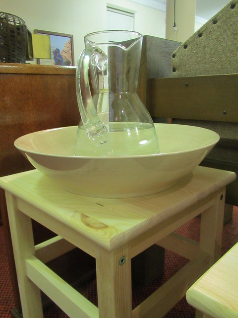 Bowl, jug of water and stool for the Washing of Feet