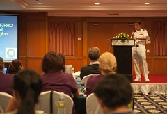 Cmdr. Steven Romero, a cardiologist at Naval Medical Center San Diego, speaks about heart disease in Phnom Pehn as part of Pacific Partnership. (U.S. Navy/MC2 Karolina A. Oseguera)