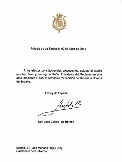 14f02 Carta oficial Don Juan Carlos anuncia abdicación Uti 415