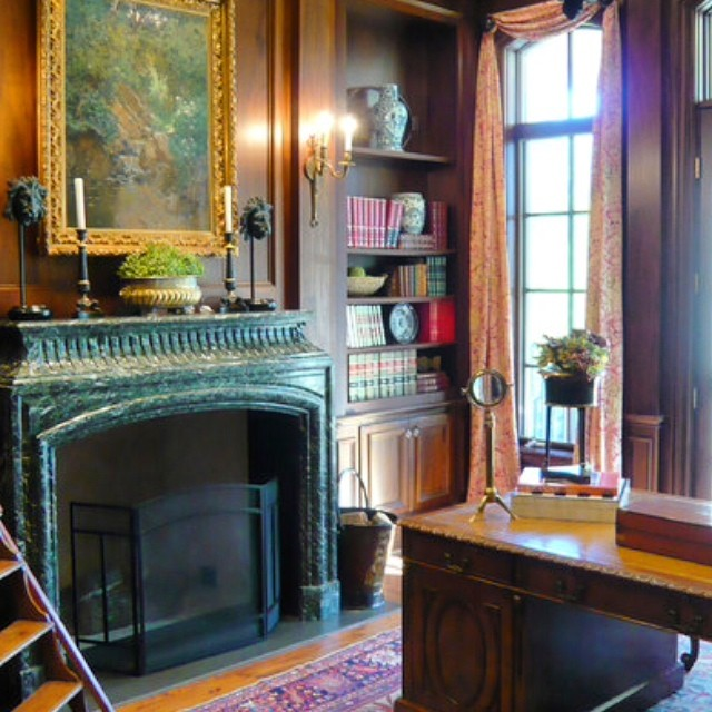 Old world French architecture for home office interior design #marble fireplace