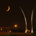 7/1/14 Waning Crescent from Long Bridge park with view of Air Force Memorial by wolfkann