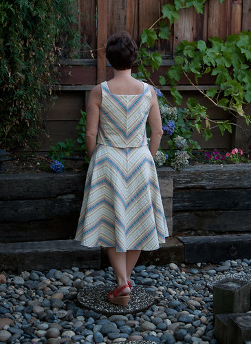 V1397 Bias stripe top and skirt back view as worn