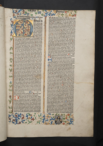 Decorated page with monastic coat of arms in Vincentius Bellovacensis: Speculum naturale