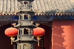 Chinese red lamps by temple gate - Mingjiao, Hefei