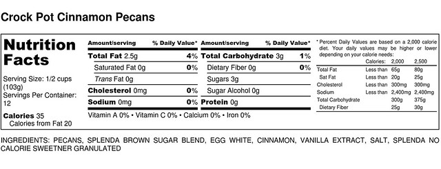 Crock Pot Cinnamon Pecans - Nutrition Label