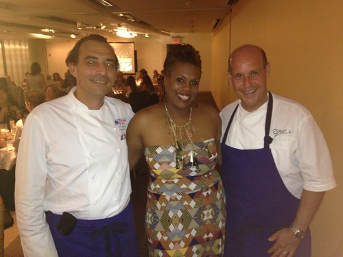 Chef Charese John flanked by chefs Xavier Deshayes and Todd Gray