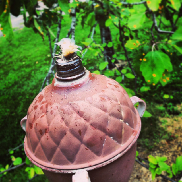 Acorn Oil Lamp, Rusted