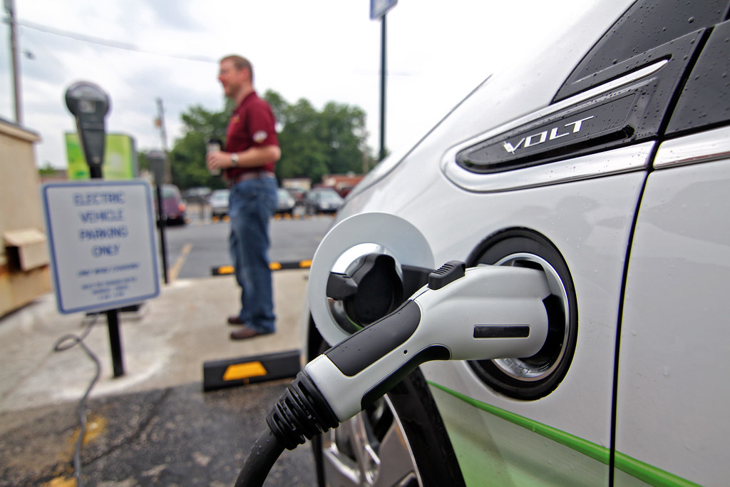 electric car charging station installed in downtown