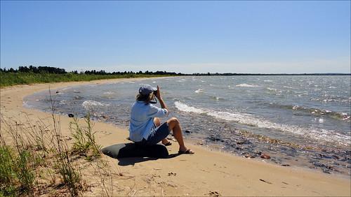 woman beach water sand shoreline joan cybershot lakehuron straitsofmackinac joeldinda duncanbay