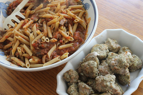48/365/1874 (July 29, 2013) - Turkey Chia Meatballs with Mushroom Pasta