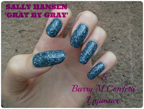 NOTD Sally Hansen Gray by Gray Barry M Confetti Liquorice