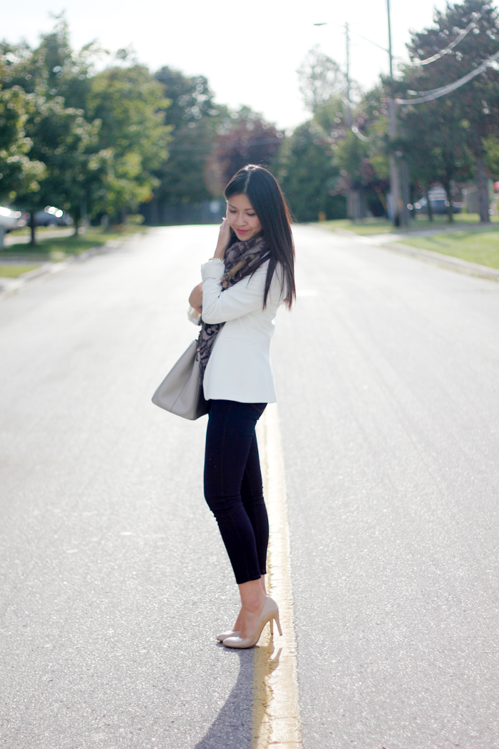Structured blazer and textured scarf (2)