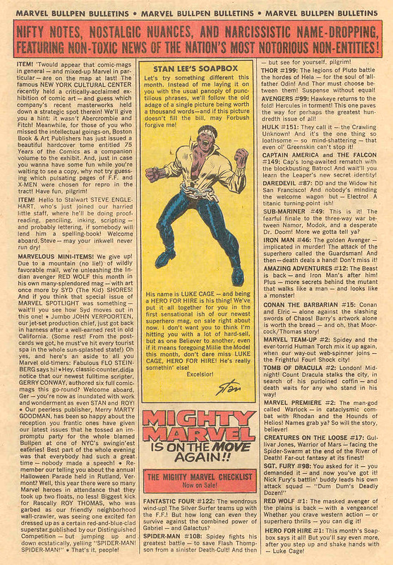Marvel Bullpen Bulletins announcing Luke Cage in Amazing Spider-Man 108 May 1972