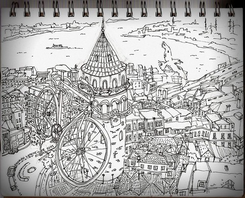 Galata Tower with bicycle by Rahman Ketenciler