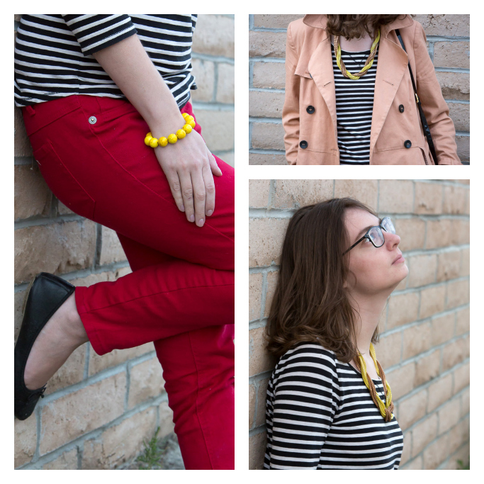 Benton Striped shirt, Black and White, Red Jean, Red Pants, Trench Coat, popbasic necklace,