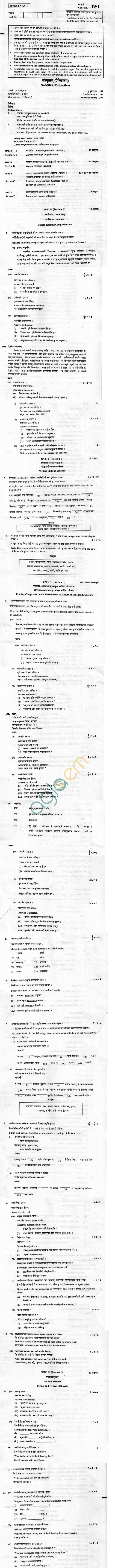 CBSE Board Exam 2013 Class XII Question Paper -Sanskrit (Elective)