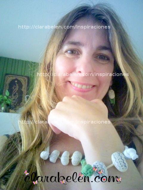 conjunto collar pulsera y pendientes fabricados con judías blancas grandes