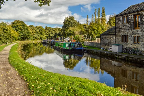 house reflection tree water grass bike clouds liverpool canal path yorkshire leeds tow barge greengates