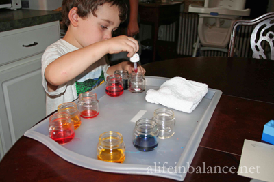 Montessori Preschool: Fine Motor Activities - Color Mixing