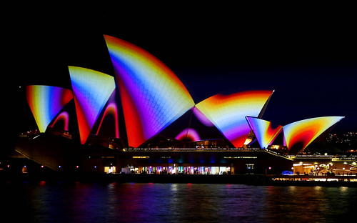 """Sydney Opera House, """"77 Million Paintings,"""" by Brian Eno, projection as part of vivid Sydney Festival"""