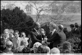 Carter, Sadat, and Begin at the Peace Treaty Signing, March 27, 1979