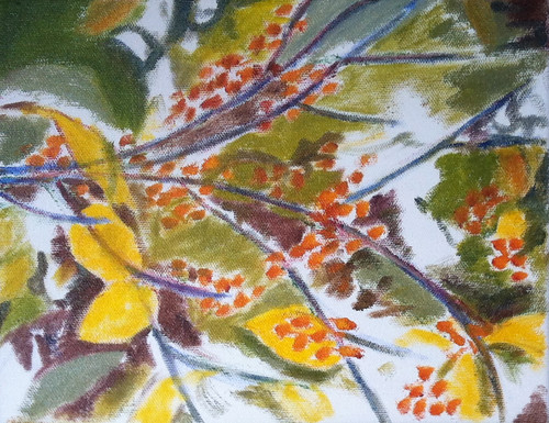 Branch with Golden Berries (Oil Bar Painting as of Dec. 4, 2013) by randubnick