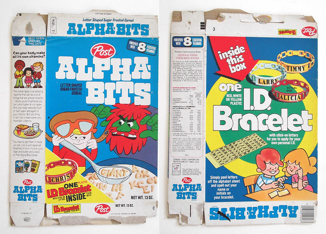 1977 Post Alpha-Bits Cereal Box Giant