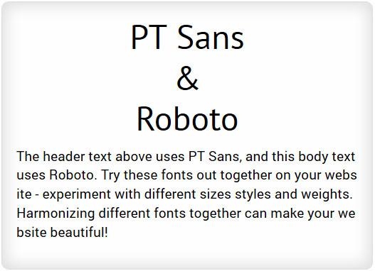 PT Sans and Roboto