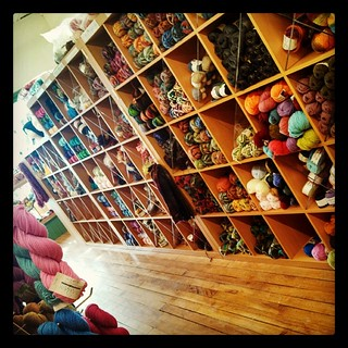 My first day working at the new location... Feels so much more like a Main Street style #yarnshop now! #yarn #knitting #yarnheaven #YarnAndFiberCo