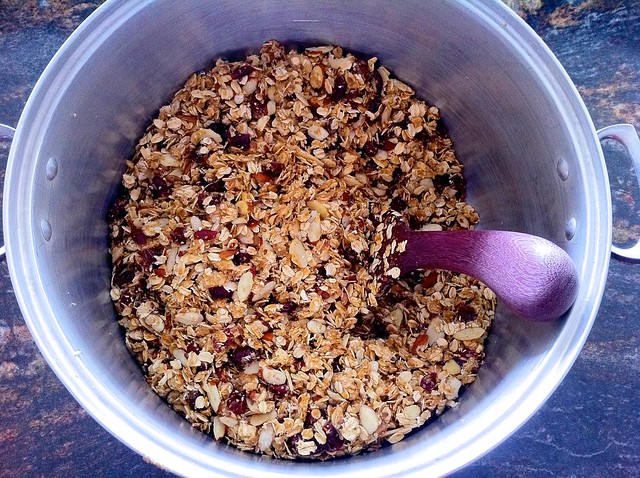 Granola Dry Ingredients Combined with Syrup