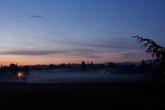 Klaus Naujok posted a photo:	Another day with ground-fog over the baseball fields. See the man to the right of the basketball hoop? Photo taken with the Konica Minolta AF DT 18–70mm @ 35mm (52mm FF).